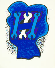 "SOREL ETROG ""KEY HEAD, THREE BLUES"" 1969"