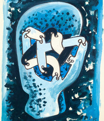 "SOREL ETROG ""LINK HEAD STUDY - BLUE"" WC, 1967"
