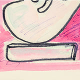 "SOREL ETROG ""LINK HEAD STUDY - PINK"" WC, 1967"