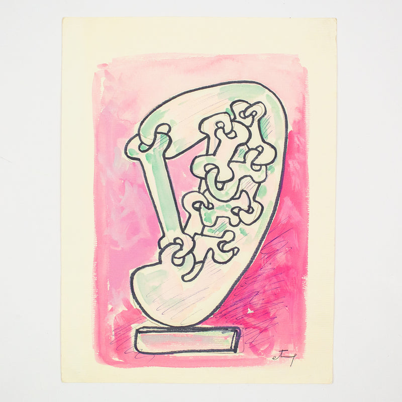 Sorel Etrog, works on paper, watercolor, drawing, Caviar20, Link Head