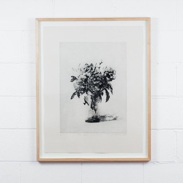 Tony Scherman, Bouquet, Aquatint, 2001, limited edition, example of framed