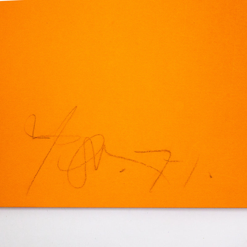 Harold Town, Orange Blue Stretch, Lithograph, 1971, Caviar20 prints, Stretch Series, prints, closeup showing artist signature
