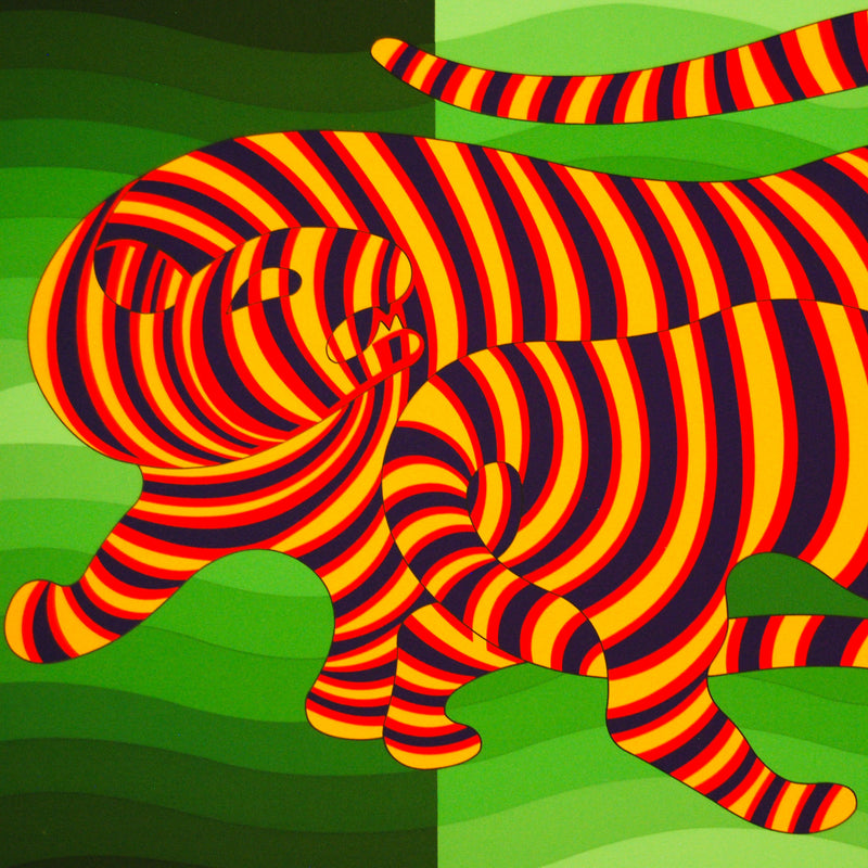 "VASARELY ""TWO TIGERS GREEN"""