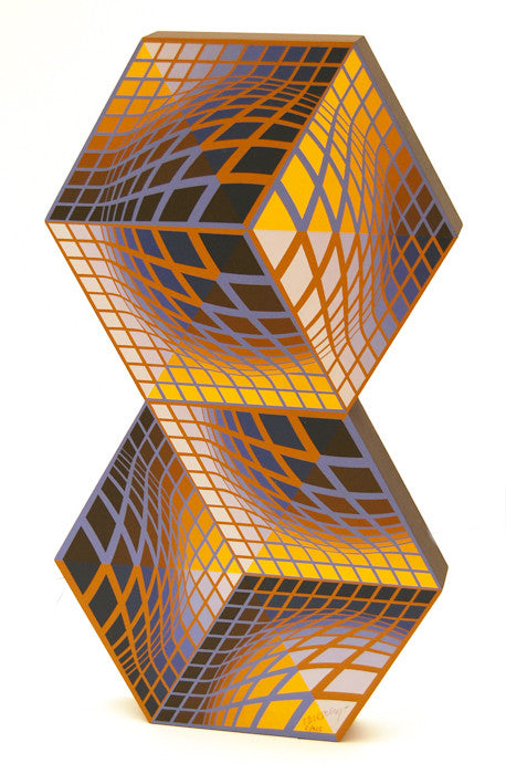 "VASARELY ""BLUE HEXAGON"""