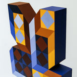 "VASARELY ""TER-A2 BLUE GOLD TOTEM"" SCULPTURE, 1980"