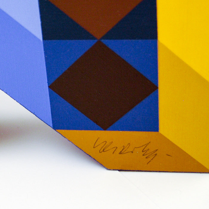 Caviar20, Vasarely, Ter-A-2 (Blue Gold), Totem Sculpture, 1969, close-up showing artist signature