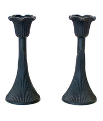 """BLACK NOUVEAU"" CAST GLASS CANDLESTICKS"