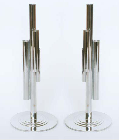 "CHASE PAIR OF CHROME ""DECO BUD VASES"""