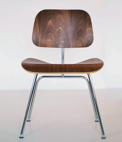"EAMES SET OF FOUR CHERRY ""LCM"" LOUNGE/DINING CHAIRS"