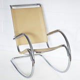 "CHROME AND LEATHER ""BIG ROCKER"" ROCKING CHAIR"