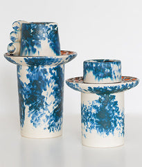 "VILLEROY & BOCH ""DENIM & ORANGE"" CERAMIC VASES"