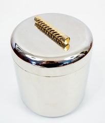 """BRASS BRAID"" CHROMED 1970'S ICE BUCKET"
