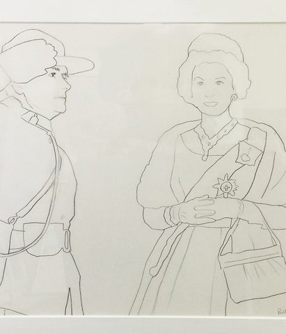 "CHARLES PACHTER ""QUEEN AND MOUNTIE"" DRAWING, 1972"
