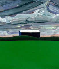"CHARLES PACHTER ""BLUE BARN, GREEN FIELD"" PAINTING, 1984"
