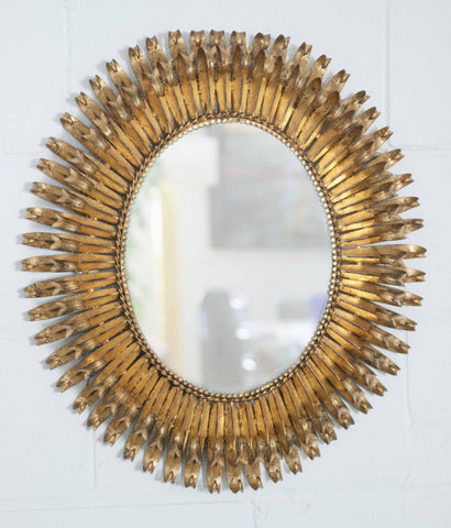 """BRASS CURLS"" LARGE ANTIQUED BRASS MIRROR"