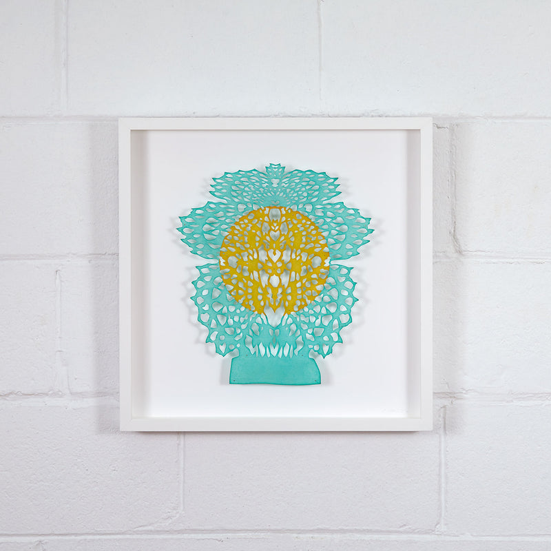Lizz Aston, Monument (To A Future Self), hand cut paper, 2020, Caviar 20, showing full work framed and displayed on white brick wall