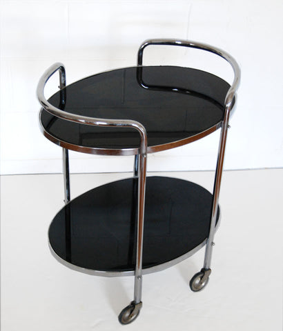 LONDON DECO CHROME & BLACK GLASS BAR CART
