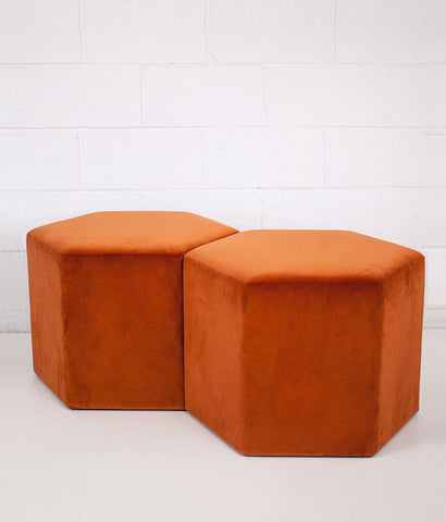 "BURNT ORANGE VELVET ""HEX BENCH"""