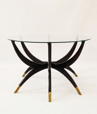 "MAHOGANY & BRASS ""SPIDER"" COCKTAIL TABLE"