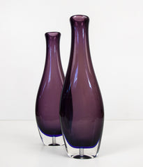 VENINI PAIR OF AUBERGINE GLASS VASE LAMP BASES