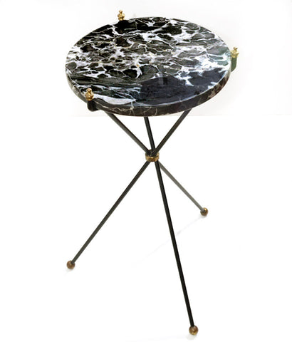"""ZEBRA"" MARBLE TRIPOD SIDE TABLE"