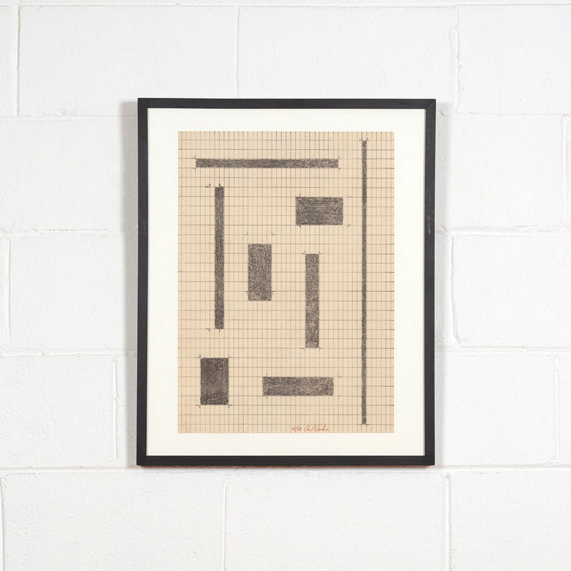 Carl Andre, Equivalents, Lithography, 1968, Caviar 20, shown framed and hung white brick wall