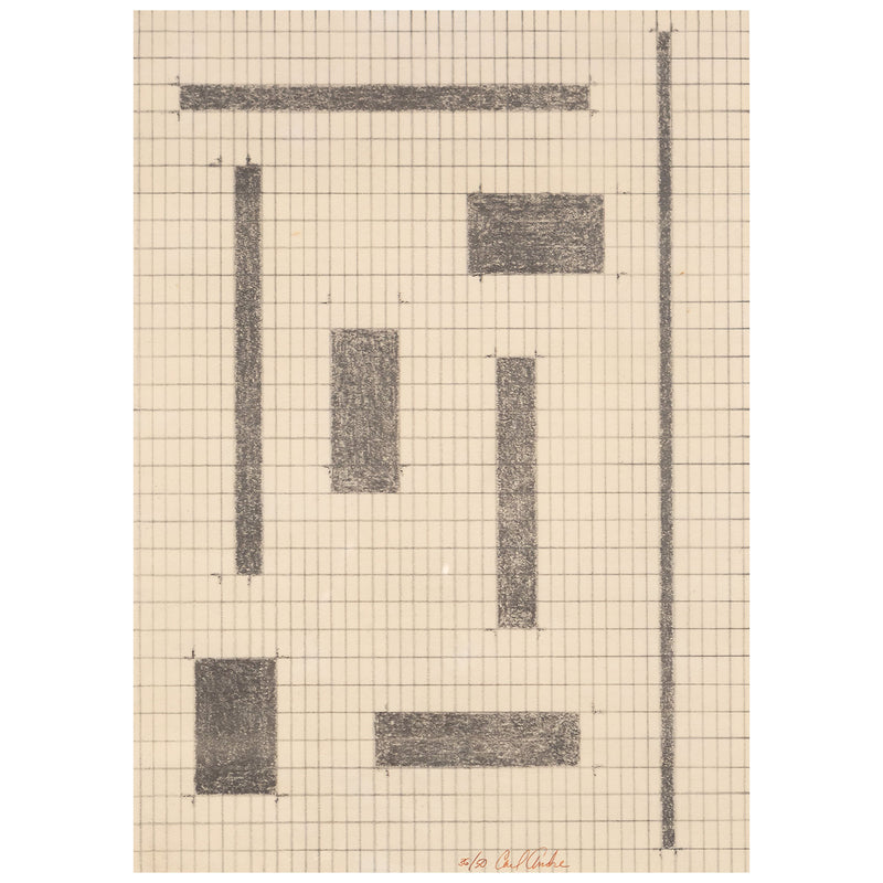 Carl Andre, Equivalents, Lithography, 1968, Caviar 20, closeup showing artist signature