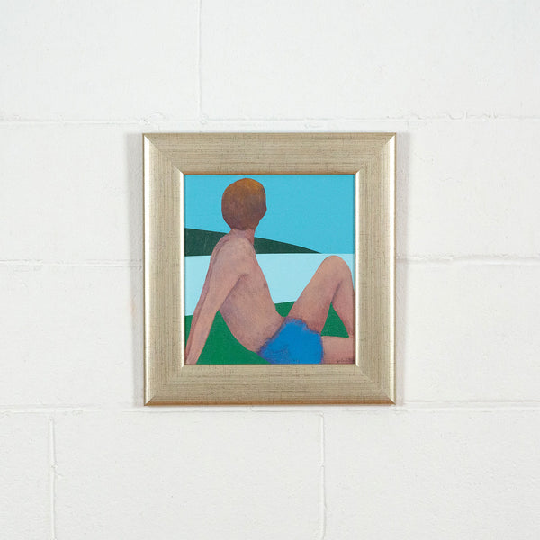 Charles Pachter, Bather, Painting, Acrylic on Canvas, 1980, Caviar20, displayed framed on white brick wall