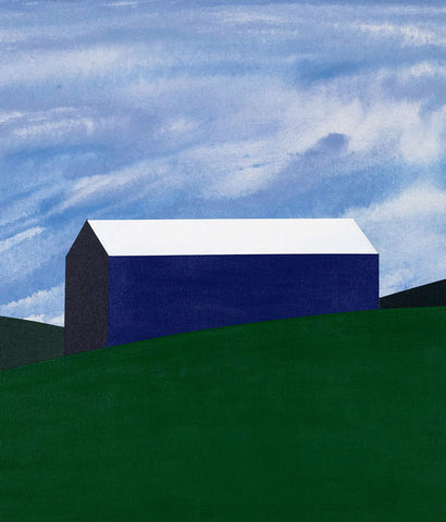 "CHARLES PACHTER ""BLUE BARN"" PAINTING, 2018"