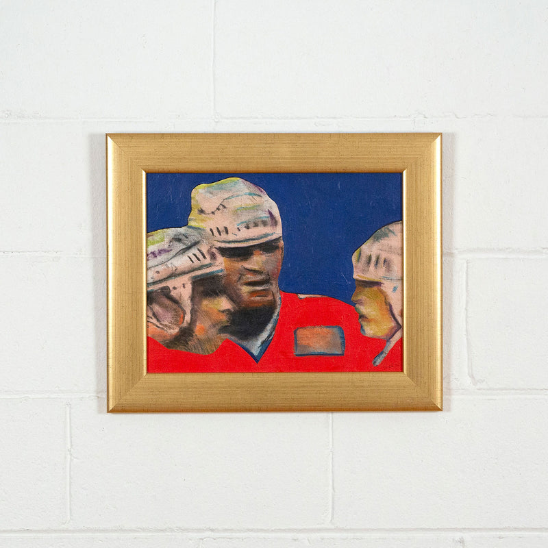 Charles Pachter, Hockey Knights, painting, 1986 Caviar20, framed and displayed on white brick wall