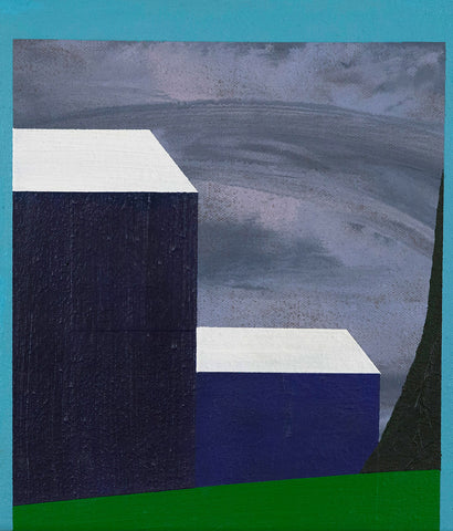"CHARLES PACHTER ""MINI BLUE BARN"" PAINTING, 1998"