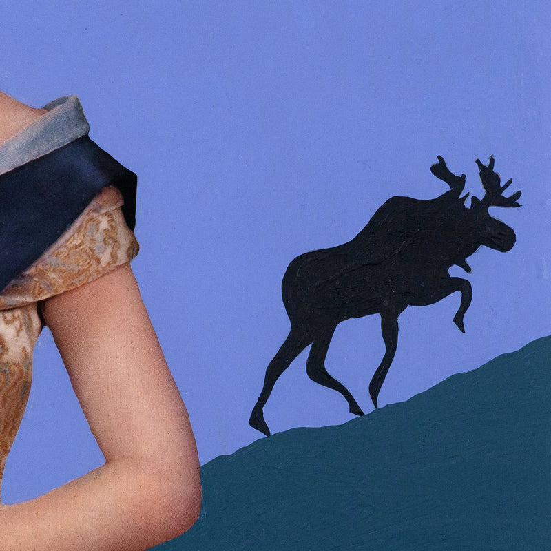 "CHARLES PACHTER ""QUEEN & MOOSE"" PAINTED COLLAGE, 1973"
