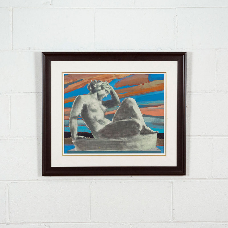 Charles Pachter, Statuesque, Painting, 1980, Caviar 20, framed and displayed on white brick wall