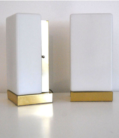 "PAIR OF ""CHICLETS"" BRASS BEDSIDE LIGHTS"