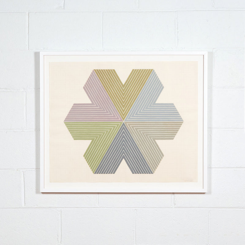 Frank Stella, Star of Persia, Lithograph, 1967, Caviar20, displayed framed on white brick wall