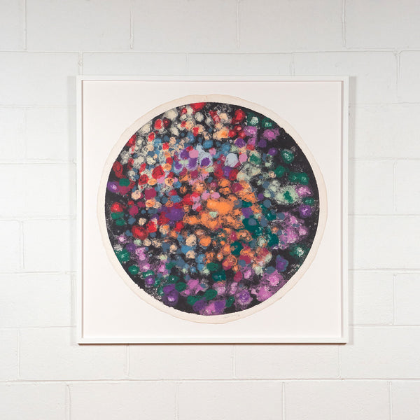 Friedel Dzubas, Tondo, Monotype, 1982, Caviar20 prints, shown framed and displayed on white brick wall