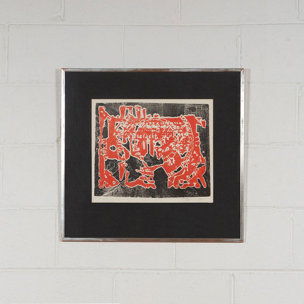 Harold Town, Day of the Dragon, Monotype, 1965, Caviar20, Canadian Artist, displayed framed and hung on white brick wall