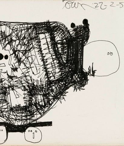 "HAROLD TOWN ""GO-CART"" INK DRAWING, 1959"