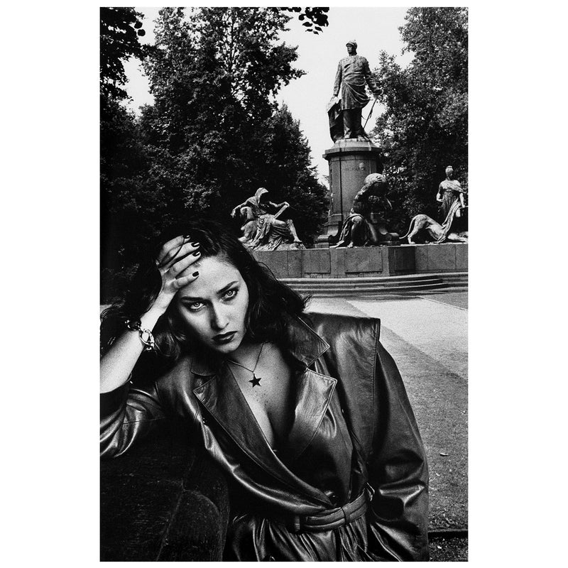 Helmut Newton Young woman and Bismarck Monument Berlin 1979 Vogue