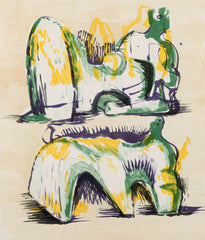 "HENRY MOORE ""TWO RECLINING FIGURES"", 1967"
