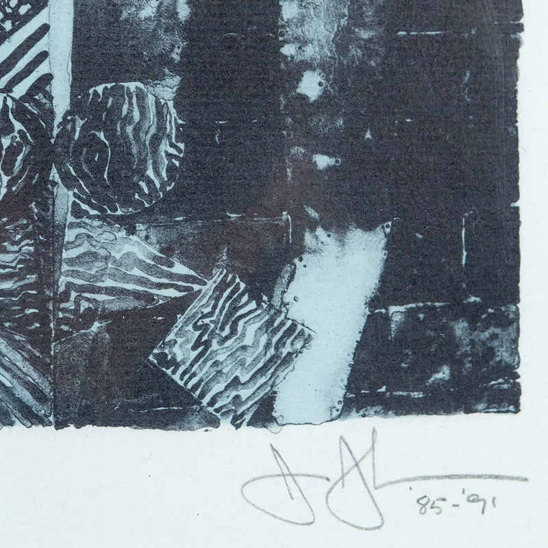 Jasper Johns, Summer Blue, Lithograph, 1991, Caviar20,  Caviar20 prints, closeup showing artist signature