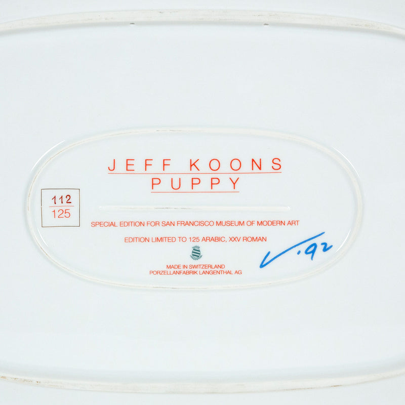 Jeff Koons, Puppy, Porcelain Platter, 1992, Caviar20, Jeff Koons multiples, close up of back of plate showing artist stamp and numbering