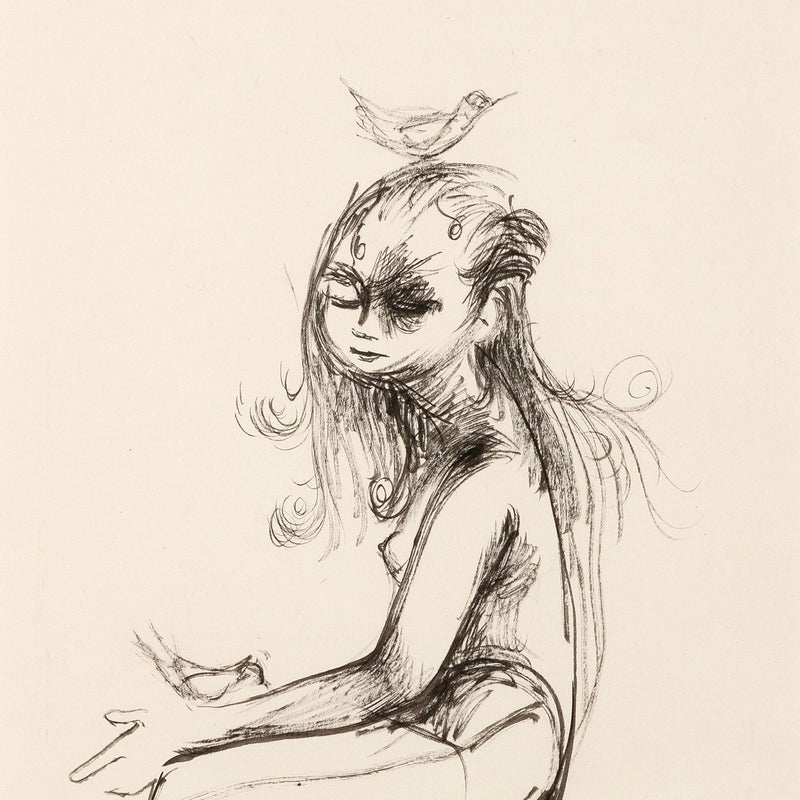 "JOYCE WIELAND ""GIRL WITH BIRDS"" DRAWING"