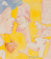 "JOYCE WIELAND ""TWO LOVERS"" DOUBLE SIDED DRAWING, 1992"