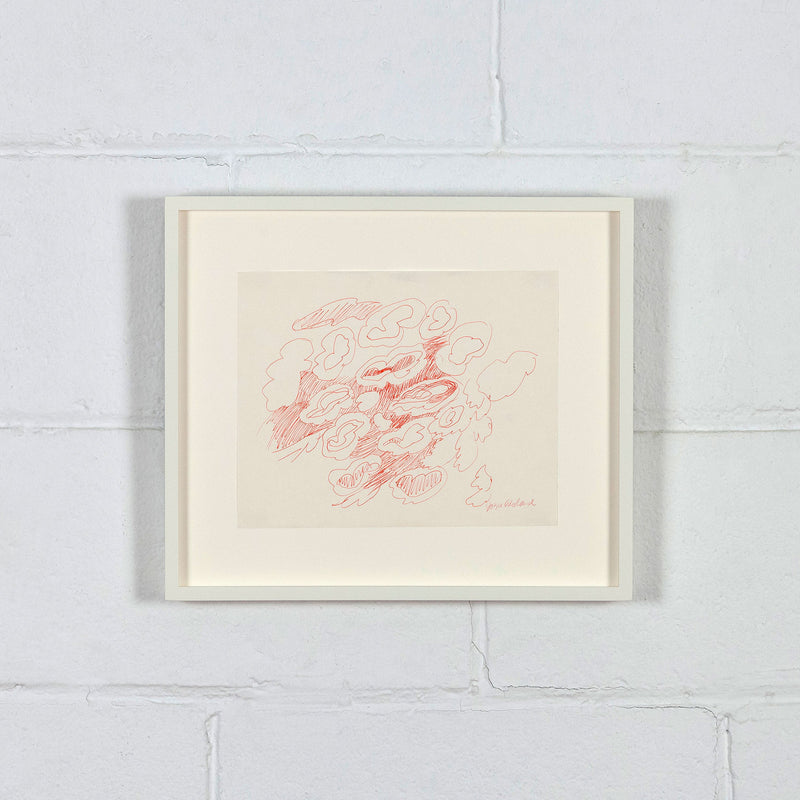 "JOYCE WIELAND ""UNTITLED (RED CLOUDS)"" DRAWING, 1960s"