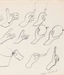 "JOYCE WIELAND ""HANDS WITH"" DRAWING, 1960s"