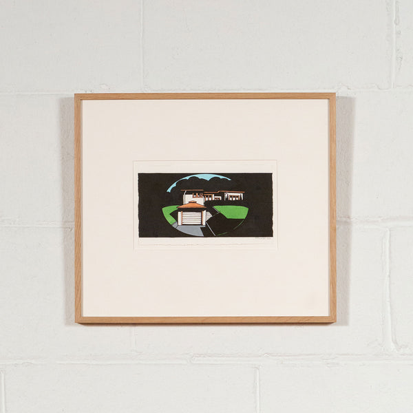 Ken Price, House, Painting, 1990, caviar20 originals, framed and displayed on a white brick wall