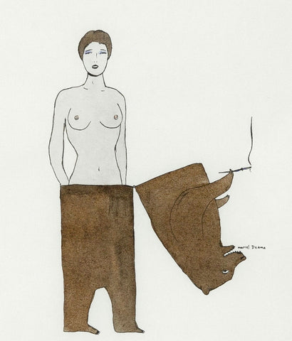 "MARCEL DZAMA ""LADY BEAR"" DRAWING, 1998"
