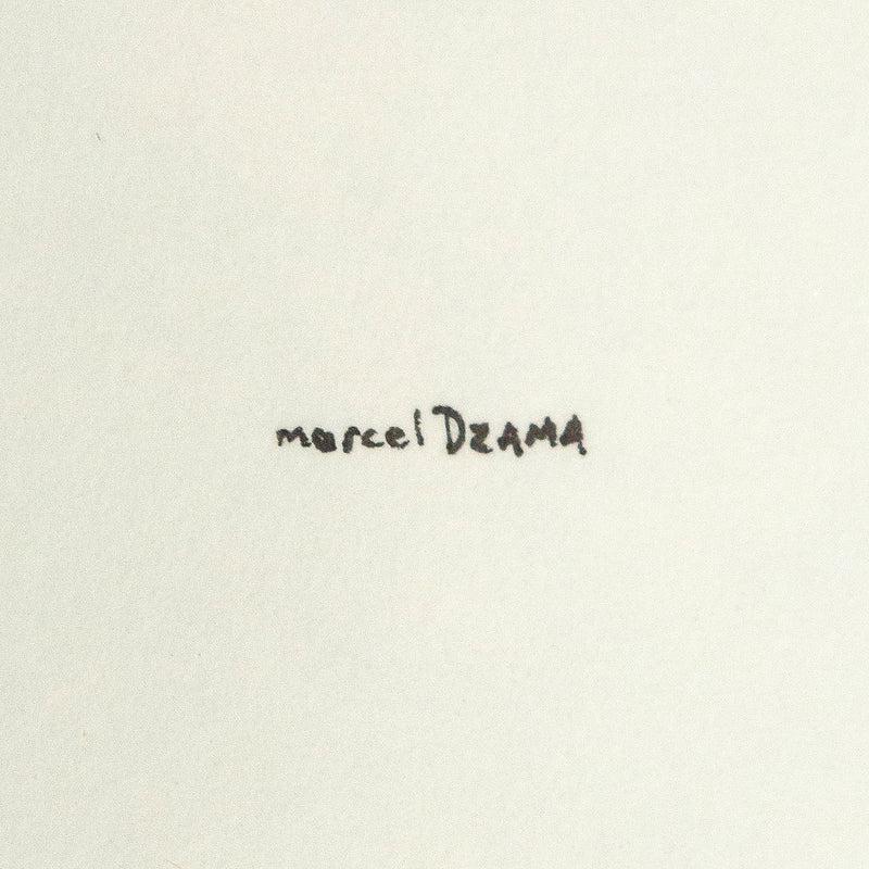 Marcel Dzama, Too Tired Shelley, Drawing 2000, Caviar20, Caviar20 Canadian Art, close up of artist signature