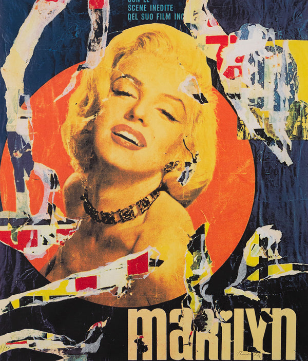 Mimmo Rotella, Marilyn, Screenprint and Collage, 1991, Caviar20